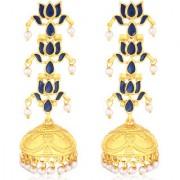 Sukkhi Charming Gold Plated Pearl Lotus Meenakari Chandelier Jhumki Earrings For Women