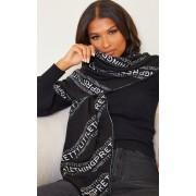 PRETTYLITTLETHING - Echarpe noire à slogans inclinés, Noir - One Size
