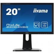 Monitor iiyama B2083HSD-B1, 20'', LED, 1600x900, 1000:1, 5ms, 250cd, D-SUB, DVI, repro, čierny