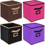 Billion Designer Non Woven 4 Pieces Small Foldable Storage Organiser Cubes/Boxes (Black & Coffee & Pink & Purple) - CTKTC35195 CTLTC035195(Black & Coffee & Pink & Purple)