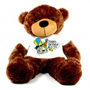 Brown 5 feet Big Teddy Bear wearing a colorful Happy Birthday To You T-shirt