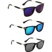 Ultra Digits Wayfarer Sunglasses(Violet, Blue, Black)
