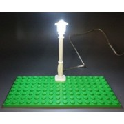 LED Lamp - Light Up Street Lamp USB Powered Lamp (WHITE POST/WHITE LED), LEGO, KREO, and MEGA Compatible. Light Kit by Brick Loot