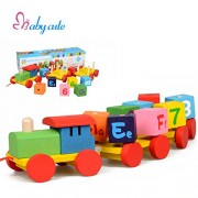 Kidsbele Educational Wooden Block Toys Fun Number Alphabet Learning Wooden Toy Train Rotating Blocks Wood Cart Kids Toy High Quality