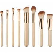 EH Navidad Bambú Maquillaje Mango Del Cepillo -8pcs-oro
