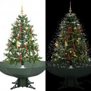vidaXL Коледна елха с валящ сняг и основа от чадър, зелена, 140 см
