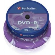 VERBATIM - DVD+R 4,7 Go 16x Matt Silver - Spindle de 25 (data uniquement)