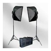 ePhoto VL9026s 2000 Watt Lighting Studio Portrait Kit with Carrying Case with 2 Soft boxes, 2 Light Heads and 10 Fluorescent Bulbs