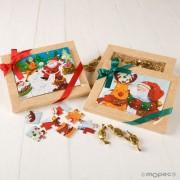 Puzzle con caja y caramelos Navidad