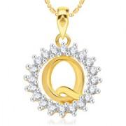 Vk Jewels Alphabet Initial Letter Q Pendant With Chain For Men Women- P1963G Vkp1963G