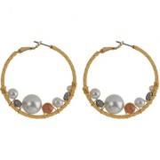 Silver Shine Designer Pearl Studded Stylist Party Wear Hoop Earring for Girls and Women Jewelleruy