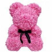 Ursulet Rose Bear din Trandafiri Roz Decorat Manual inaltime 40 cm