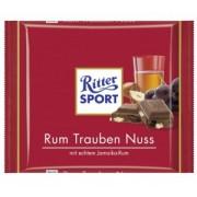 Ciocolata cu Lapte, Rom, Stafide si Alune Ritter Sport 100g