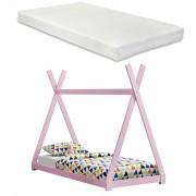 Детско легло с матрак 200 x 90 cm, дизайн Индианска шатра, Розово