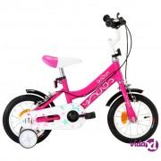 vidaXL Dječji bicikl 12 inča crno-ružičasti
