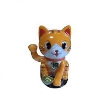 Solar Powered Cute Lucky Cat (Orange)