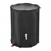 [casa.pro]® Esővízgyűjtő tartály - 500 L - 80 x 98 cm 500D PVC Fekete - Rozsda- és UV-álló PVC