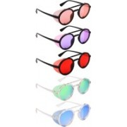 NuVew Round, Shield Sunglasses(Orange, Violet, Red, Green, Yellow, Blue)
