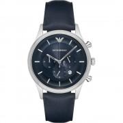 Armani orologi argento Ar11018 & Navy blu in pelle uomo cronografo ...