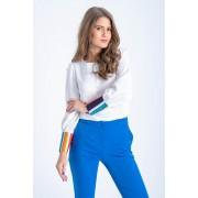 Bluza dama alba si mansete in dungi multicolore L (40)