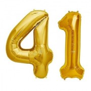 De-Ultimate Solid Golden Color 2 Digit Number (41) 3d Foil Balloon for Birthday Celebration Anniversary Parties
