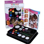 Snazaroo Ultimate Face Painting Pack - 10 face paints, 2 sparkle colours & 2 glitter gels, 4 sponges, 2 brushes & face painting guide.