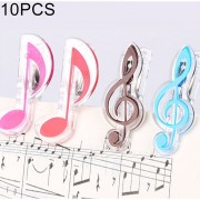 10 Pcs PP Material Acero Inoxidable Spring Music Note Forma Libro Clip Deluxe Pagina Titular, Color Al Azar Entrega