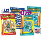 """Magic Mazes: Invisible Ink """"Baby Dinosaurs"""", """"Mazing Discoveries"""", """"Mazing World of Sea Animals"""" & """"Mazing World of Fish & Fun Facts"""" Activity Books Gift Set Bundle - 4 Pack"""