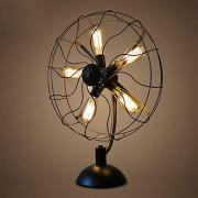 Lámpara de mesa Negro ventilador que modela dormitorio lámpara de cabecera, retro decorativo de vapor industrial punk Lámpara de estudio, Plancha for hornear pintura , creativo Cafetería, bar, hotel, a
