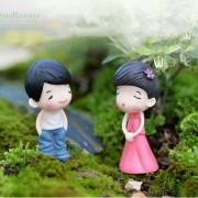 ELECTROPRIME Miniature Fairy Garden Micro Landscape Dollhouse Bonsai Decor Pretty Couple