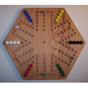 """Wooden Marble Game Board Aggravation 20"""" Hexagon, Red Oak Oiled, 6 Player 6 Hole With (12) Inlaid Spots"""