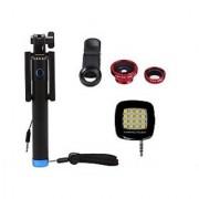De-Techinn Combo of Locust Aux Selfie Stick + 3 In 1 Clip Mobile Camera Lens Kit + 16 LED Selfie Night Flash Light