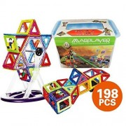 ?SHOP SHIMATARO? Magplayer 198 Piece Big Box Set Mag Foamer with Storage Case MAGFORMERS Magnet Block Educational Toy Fostering Creativity Intelligence Magnet Puzzle Block ?198 Piece?