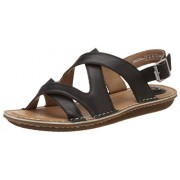 Clarks Women's Black Leather Fashion Sandals - 5 UK/India (38 EU)