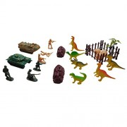 PEL Toys Dino Battle Force Action Set | Playset Includes: 6 Toy Soldiers, 6 Dino Figurines, 2 Tanks, & 9 Accessories | Can the Dino Battle Force Contain the Dinosaurs?
