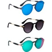 TheWhoop Oval Sunglasses(Blue, Black, Green)