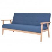 vidaXL Триместен диван, текстил, син