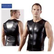 Svenjoyment Zipper Muscle Top T Shirt Glossy Black 2160307