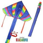 KickFire Kadavu Premium Blue Delta Kite | Best Kite for Kids | Easy to Fly | Large High Flyer Kites | Ripstop Nylon Fabric | Includes 100 ft Kite String Plastic Reel & Kite Bag