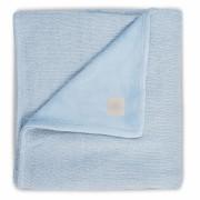 Paturica bebe 2 fete Soft 100x150 cm tricot fleece albastru