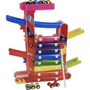 Emob 3 in 1 Multifunctional Wooden Gliding Cars Track Set Toy with Xylophone and Colorful Gears (Multicolor)