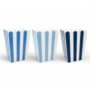 Merkloos 30x stuks gestreepte popcorn/snoep bakjes blauw - Wegwerpbakjes