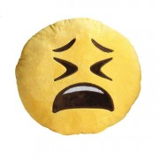 Soft Smiley Emoticon Yellow Round Cushion Pillow Stuffed Plush Toy Doll (Crying)
