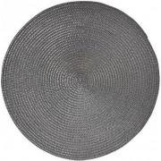 8x Luxe ronde placemat zwart 38 cm gevlochten - Zwarte tafeldecoratie onderleggers 8 stuks