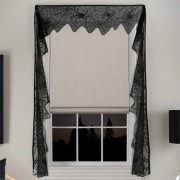 Gothic Black Lace Bat Curtains Valance Halloween Haunted House Spiderweb