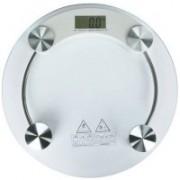 ZIORK Personal Digital Weight Machine 8mm Thick Round Transparent Glass Weighing Scale(White)