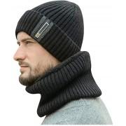 Yliquor Men's Winter Hat Cap Scarf Set Termal Velvet Thick Knit Hat and Muffler, Thick Thermal Skullies & Beanies Windproof Cap for Men Women