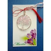 Martisor handmade POMUL VIETII cu cristale roz