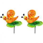 Wonderland (SET of 2) Plastic Snail on Leaf Stake(10 x 10 x 69 cm)