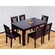 BM WOOD FURNITURE Sheesham Wood Dining Table 6 Seater Dining Table Chair Set of 6 Mahogany Finish